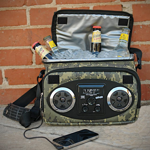 radio and beer cooler