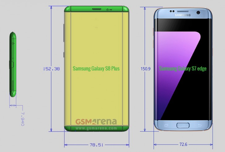 Samsung Galaxy S8 Plus size