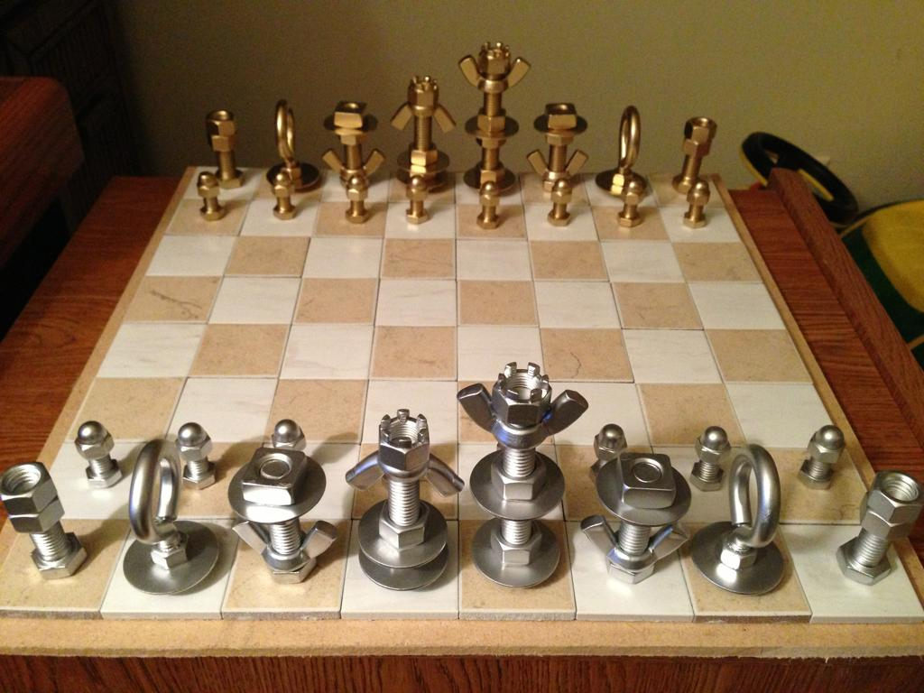 Chess Sate made from bolts and nuts