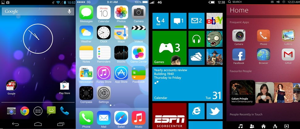 Home Screen Comparison: Android 4.2.x vs. Apple iOS7 vs. WP8 vs. Ubuntu